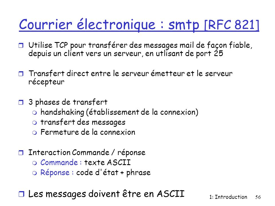 Courrier électronique : smtp [RFC 821]
